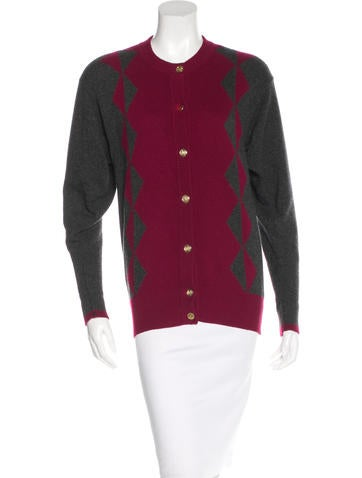 Chanel Patterned Cashmere Cardigan None