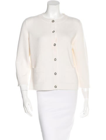 Chanel Cashmere Button-Front Cardigan None