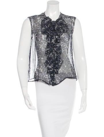 Chanel Silk Ruffled Top None