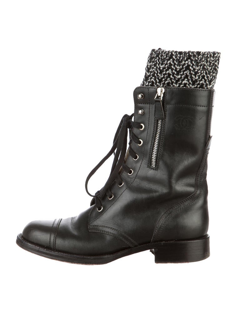 chanel combat boots shoes cha19200 the realreal