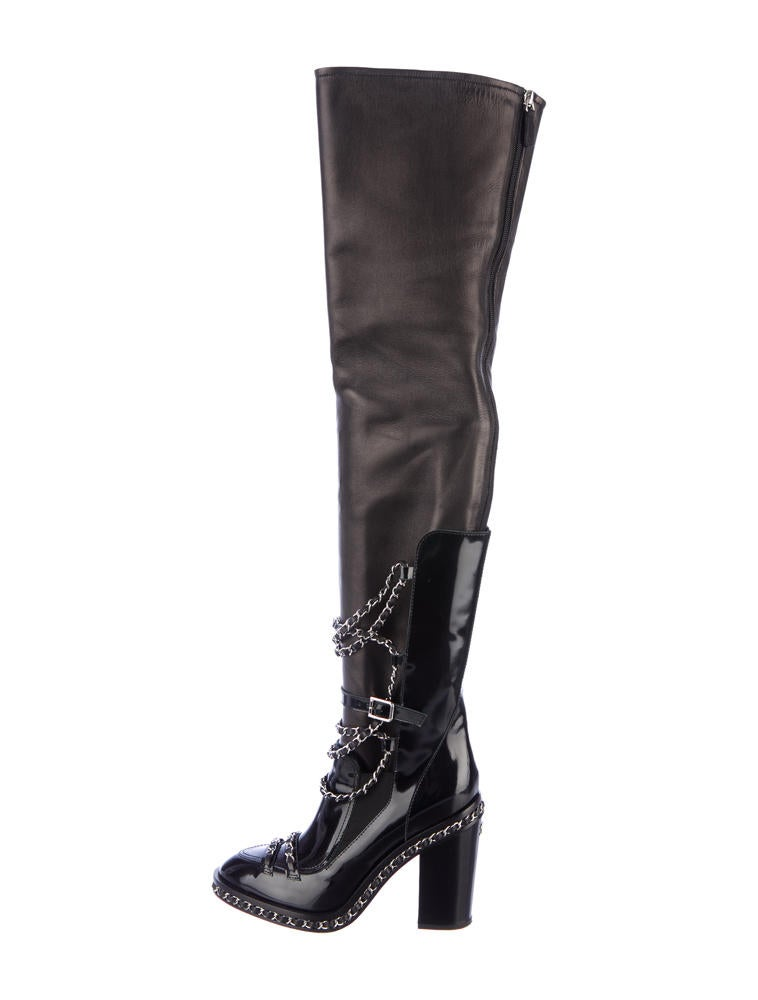 chanel thigh high chain boots shoes cha26990 the