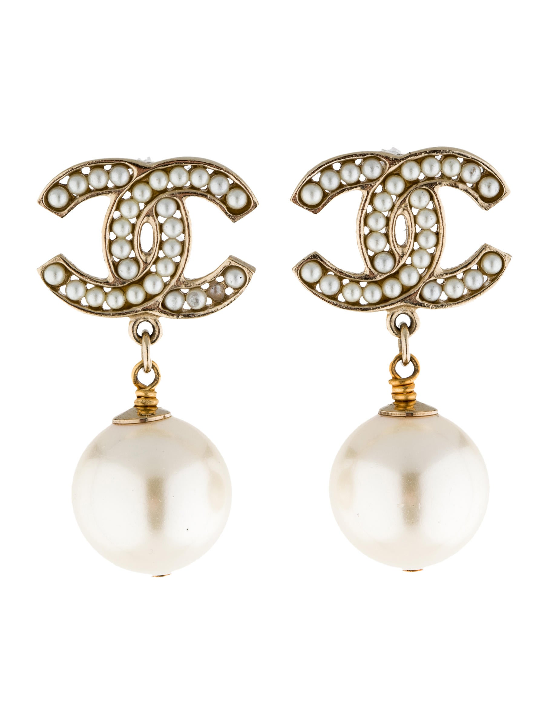 chanel cc pearl drop earrings earrings cha49015 the. Black Bedroom Furniture Sets. Home Design Ideas