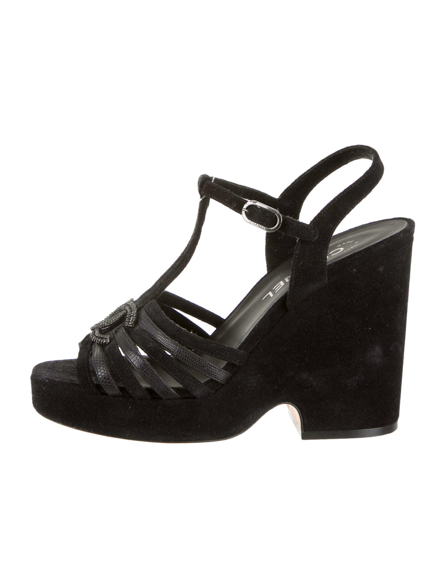chanel wedge sandals shoes cha64835 the realreal