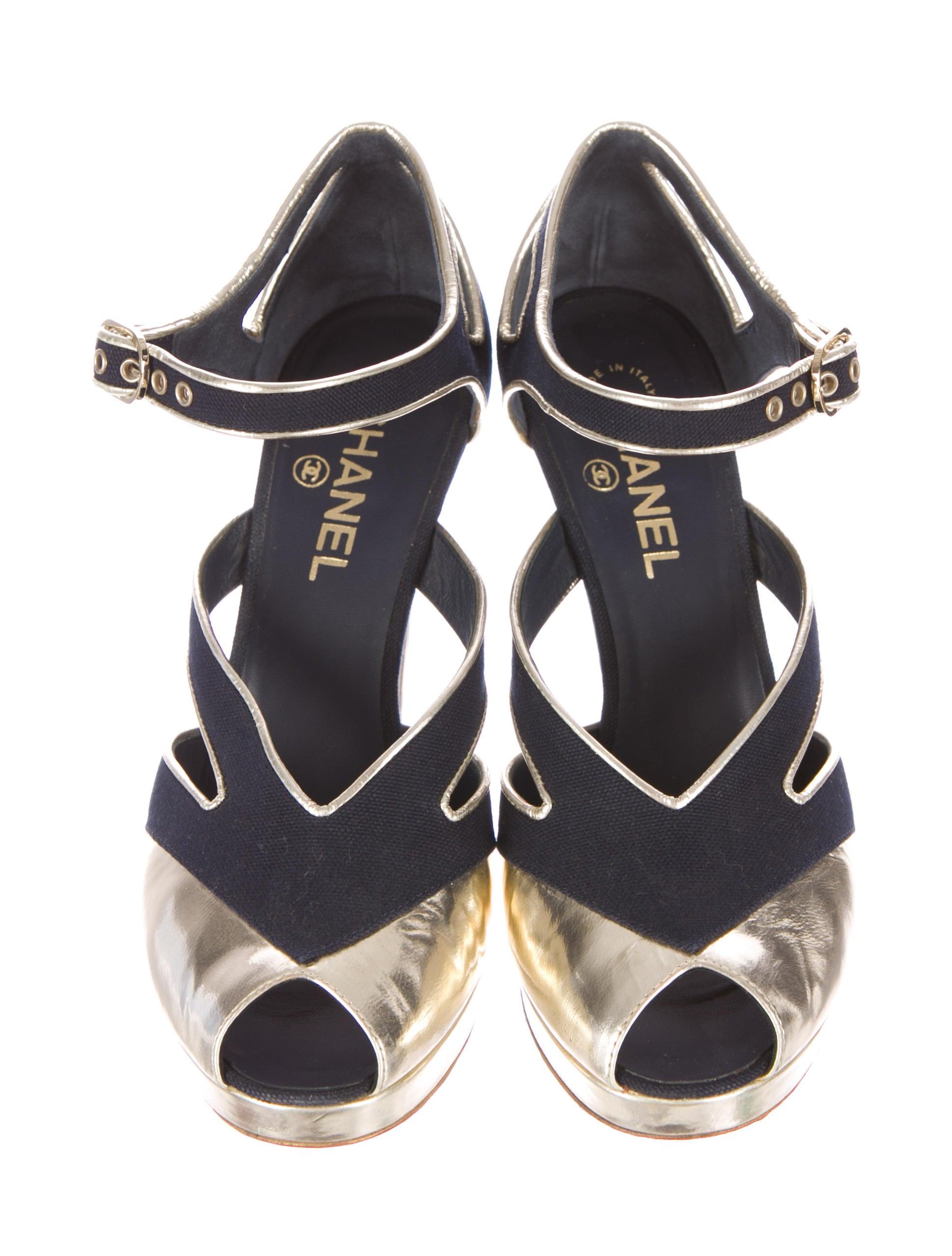 chanel peep toe platform pumps shoes cha69610 the