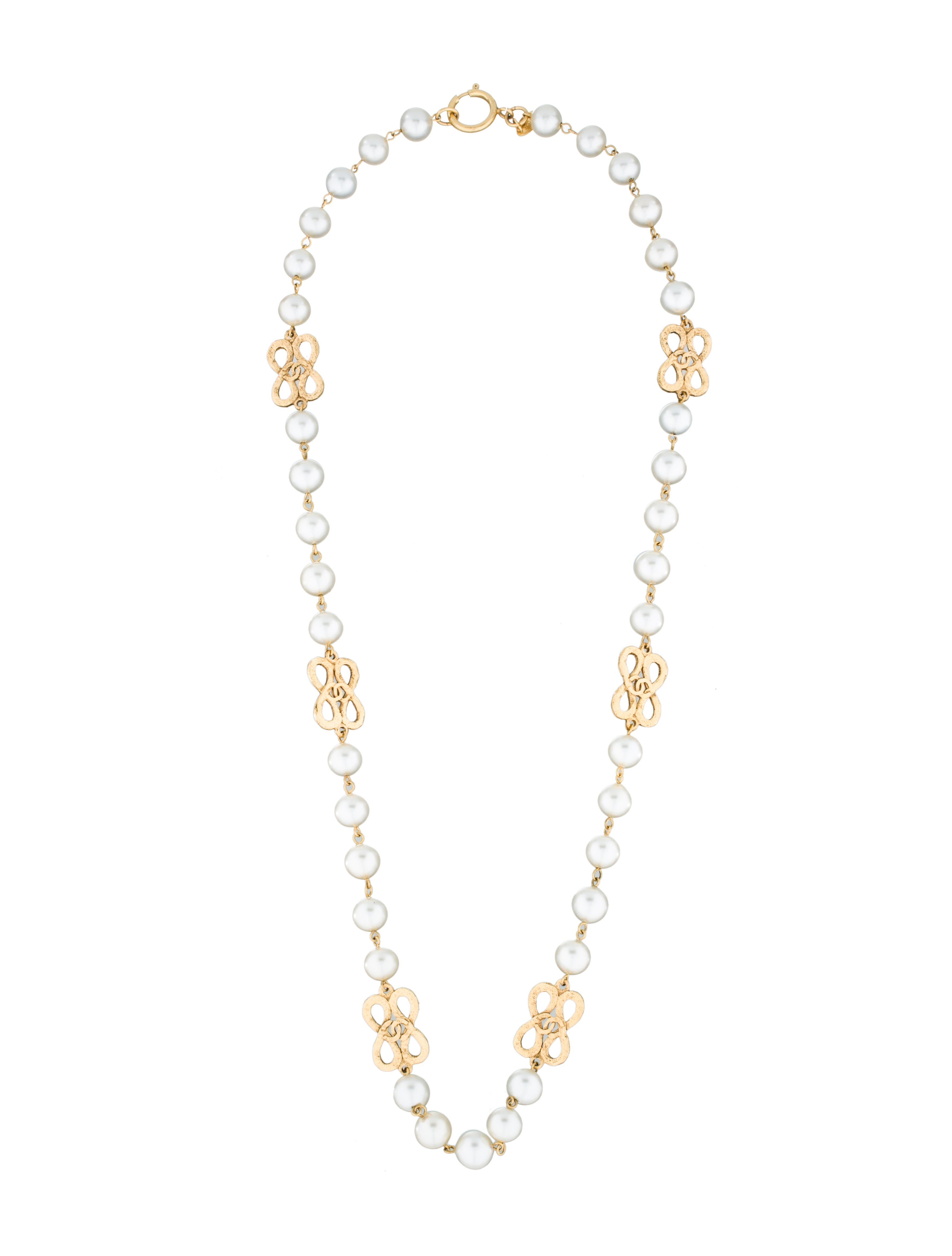 chanel faux pearl necklace jewelry cha76884 the realreal