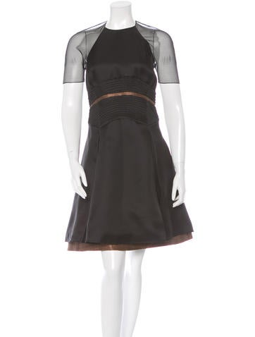 Ralph Rucci Mesh Pleated Dress None