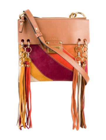 Chloé Small Jane Suede Fringe Patchwork Leather Crossbody Bag