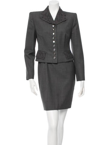 Christian Dior Wool Lace-Trimmed Dress Set None