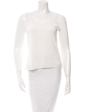 Christian Dior Crotchet-Paneled Rib Knit Top None