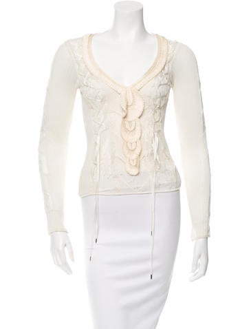 Christian Dior Lace-Embellished Open Knit Top None