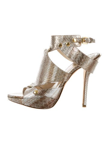 Christian Dior Metallic Snakeskin Sandals
