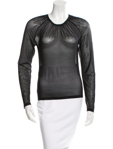 Christian Dior Sheer Long Sleeve Top None