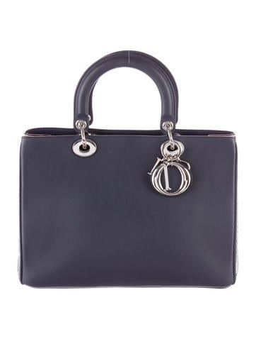 Christian Dior Snakeskin-Trimmed Large Lady Dior None