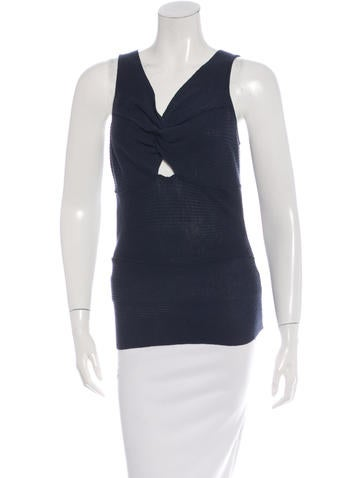 Christian Dior Wool Twist-Front Top None