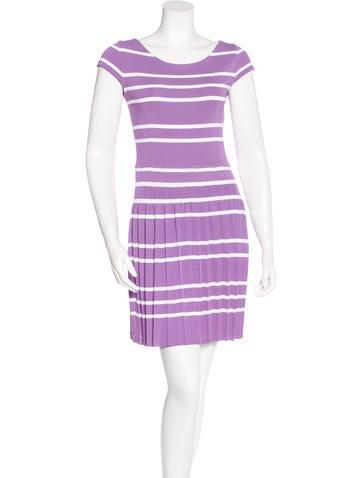 Christian Dior Striped Pleated Dress None