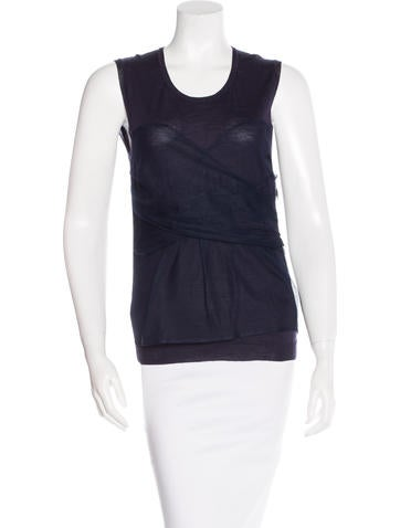 Christian Dior Mesh-Trimmed Wool Top None