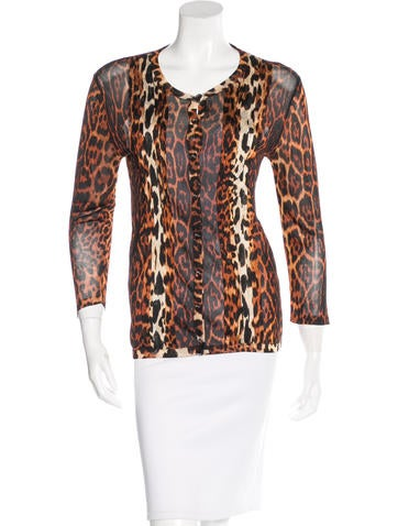 Christian Dior Leopard Print Knit Cardigan None