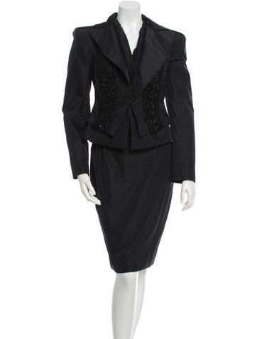 Christian Lacroix Embellished Silk Skirt Suit None