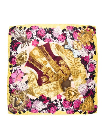 Christian Lacroix Silk Jeweled Scarf None