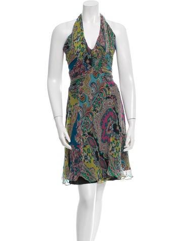 Christian Lacroix One-Shoulder Silk Paisley Dress None
