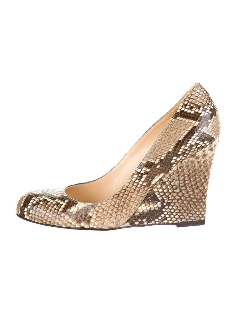 christian louboutin snakeskin wedges shoes cht21542