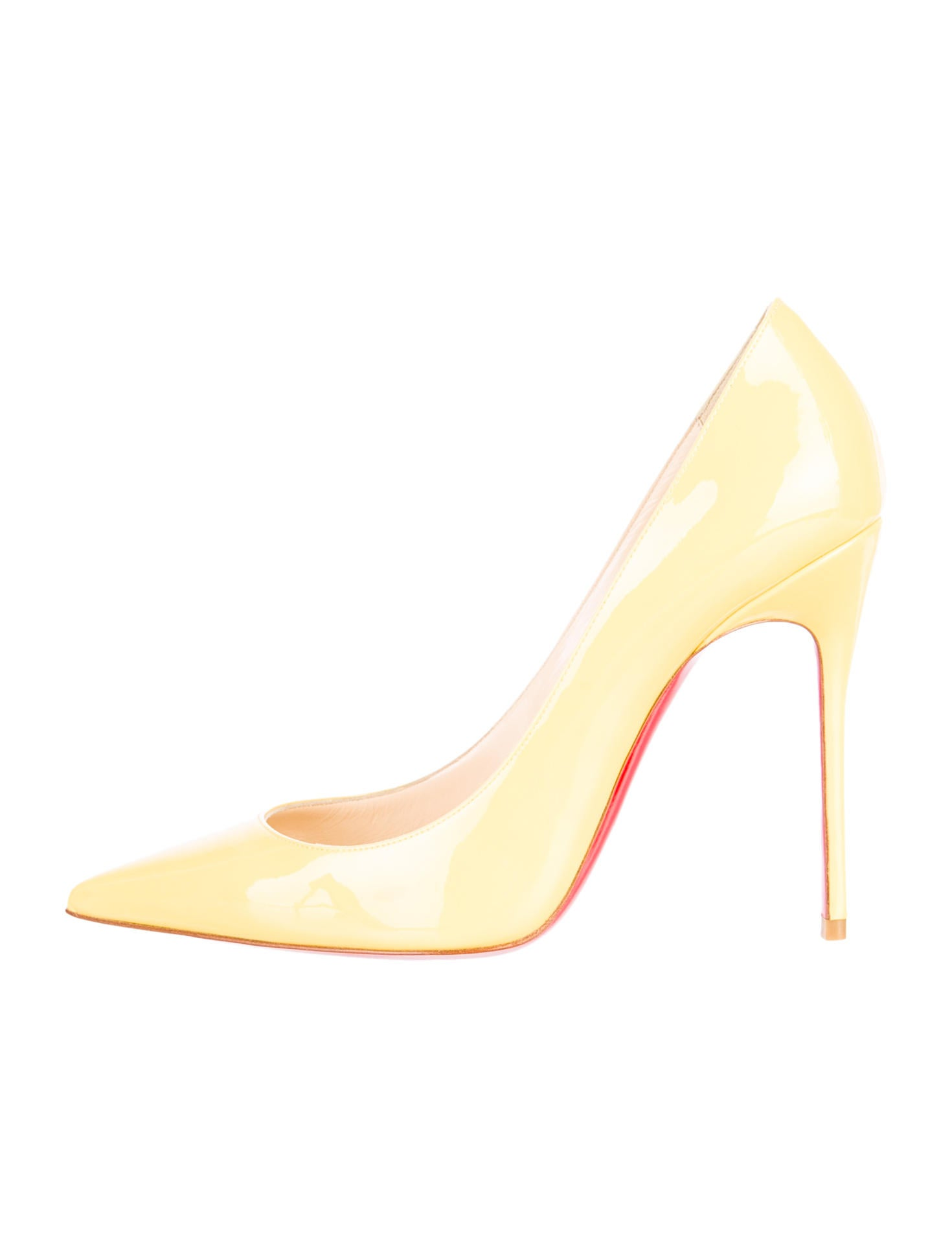 christian louboutin Decolette pointed-toe pumps Yellow patent ...