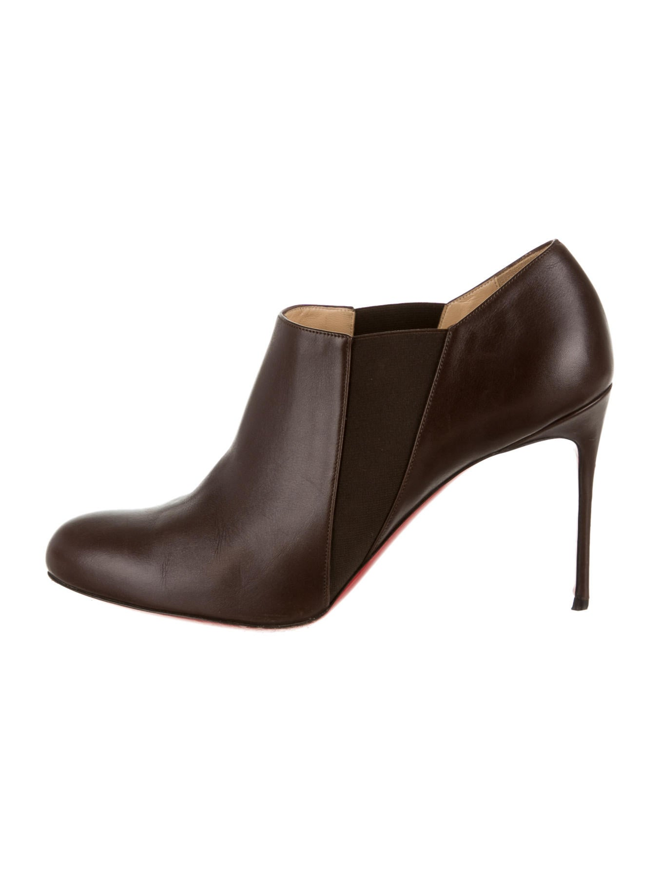 christian louboutin round-toe booties Brown leather | The Little ...