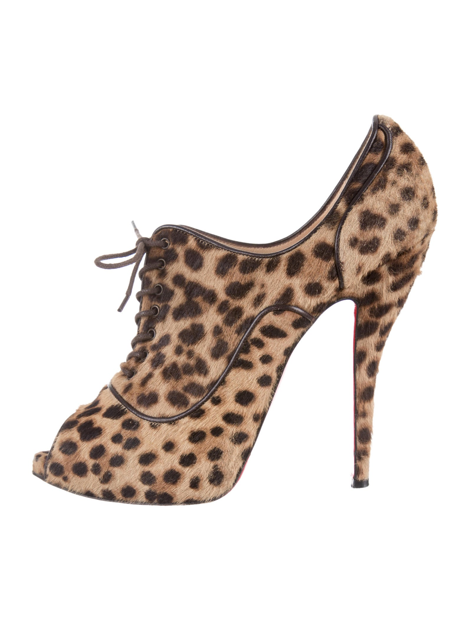 christian louboutin leopard print peep-toe pumps Brown, beige and ...