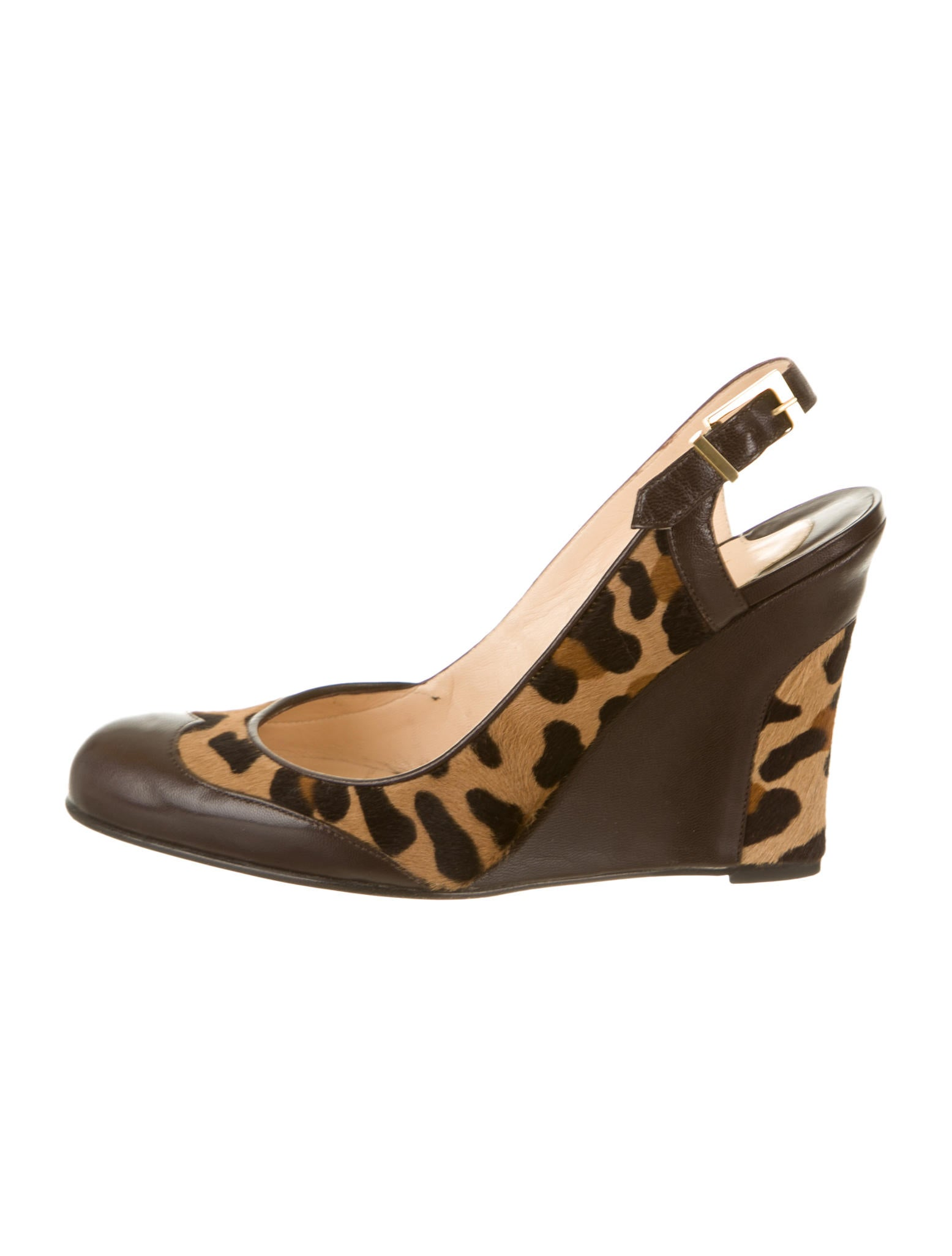 christian louboutin semi-pointed toe wedges Brown leather and ...