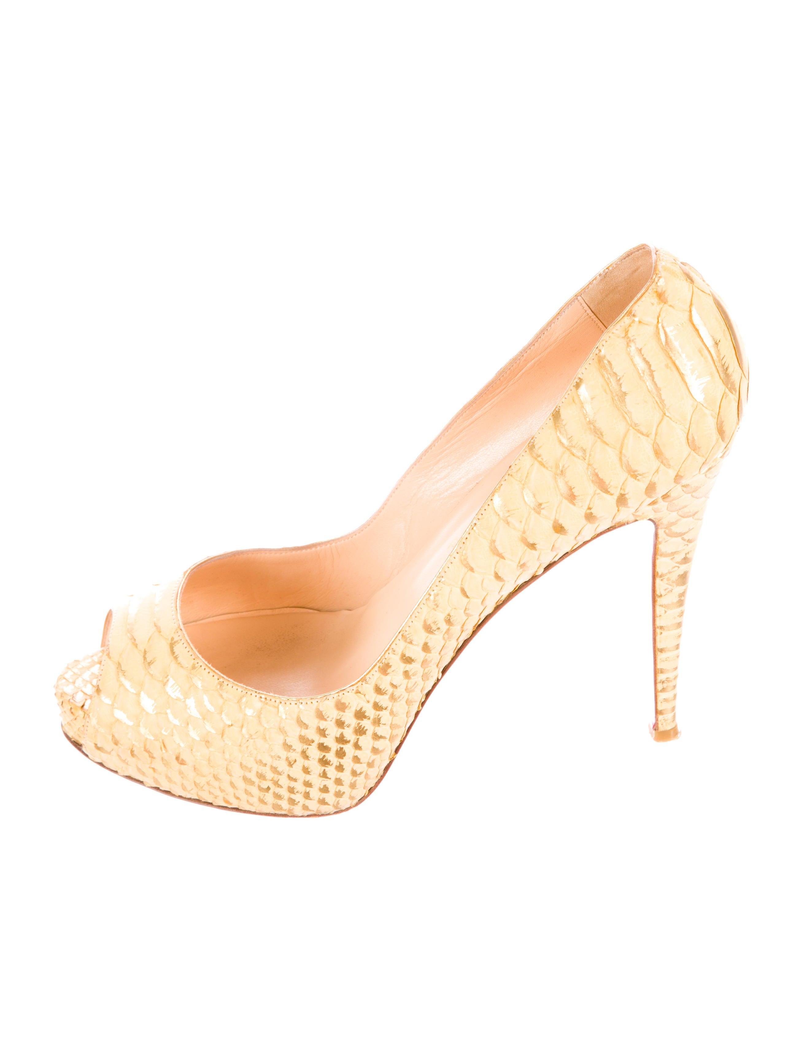 black spiked louis vuitton shoes - Artesur ? christian louboutin Very Prive python peep-toe pumps ...