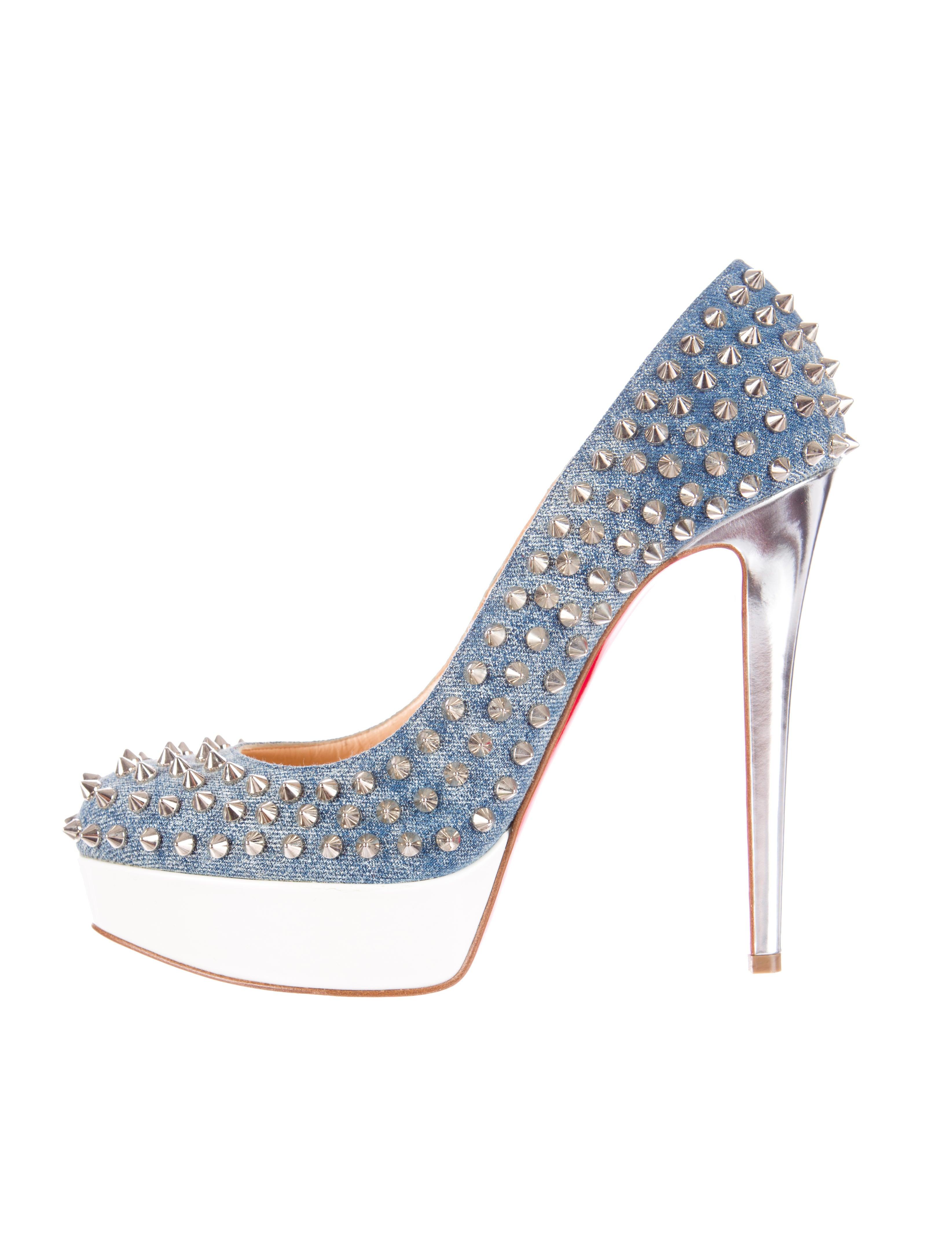 Christian Louboutin Bianca Spiked Denim Pumps - Shoes - CHT32491 ...
