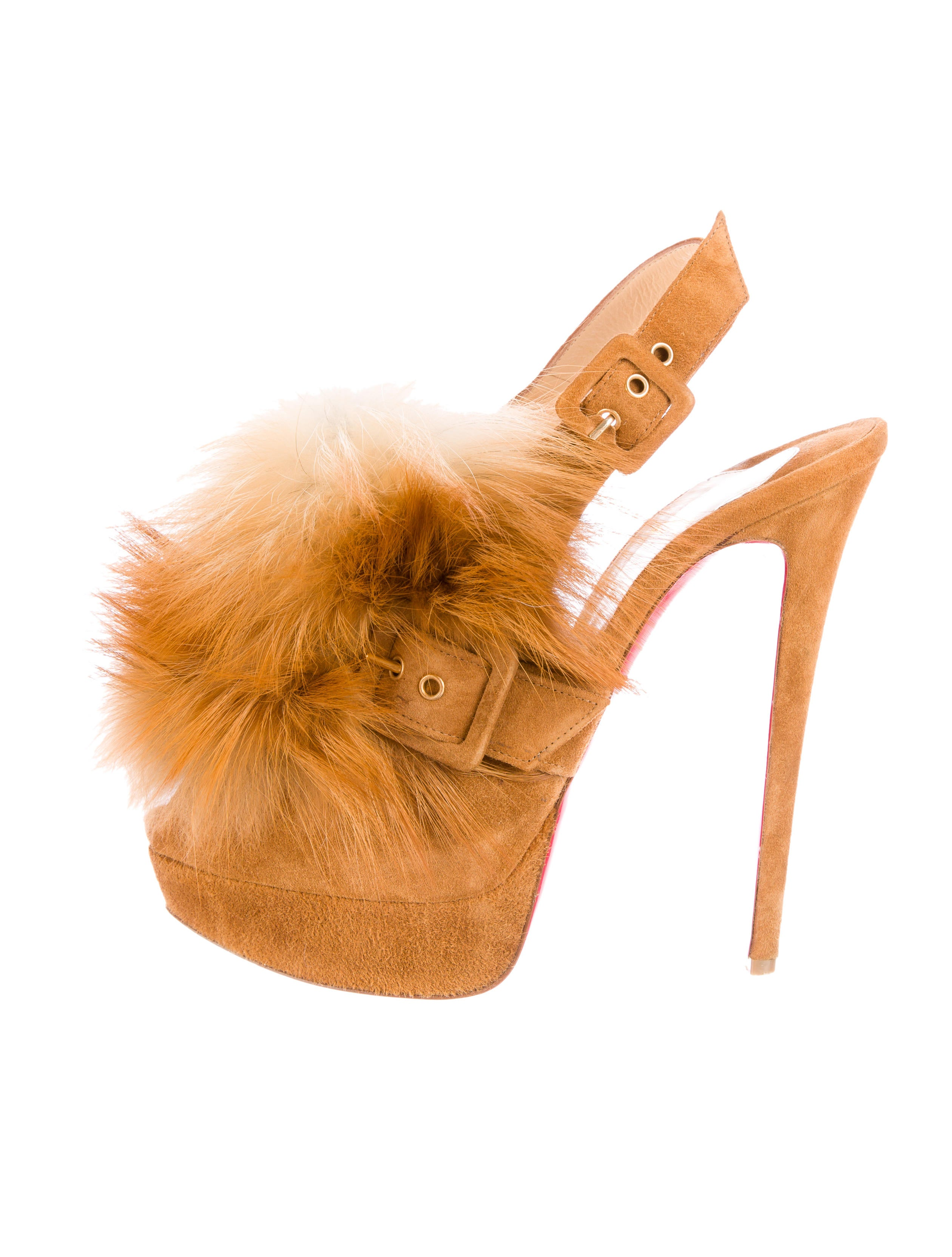 replica louboutin shoes for sale - christian louboutin slingback Splash Fur platform pumps Brown fox ...