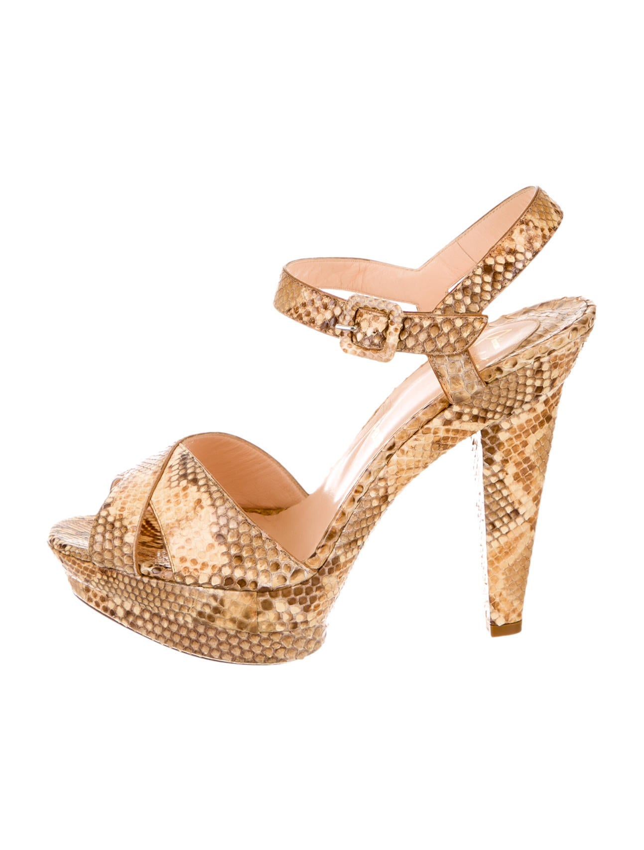 christian louboutin imitations - christian louboutin python sandals Beige and brown layered ...