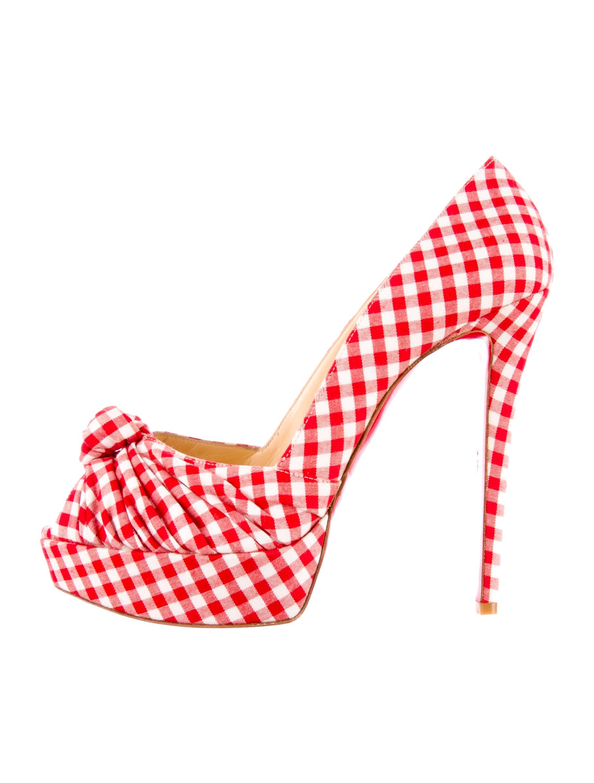 black spiked christian louboutin heels - Artesur ? christian louboutin Greissimo gingham print peep-toe ...