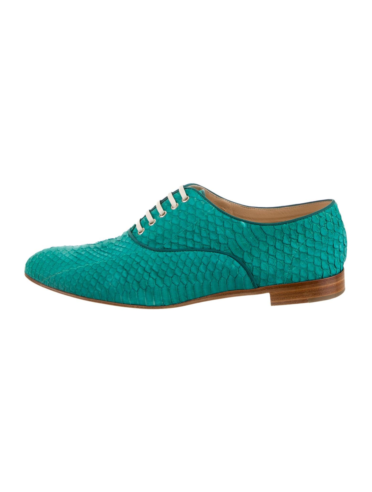 replica louboutin uk - christian louboutin Fred oxfords Jade snakeskin stacked heels ...