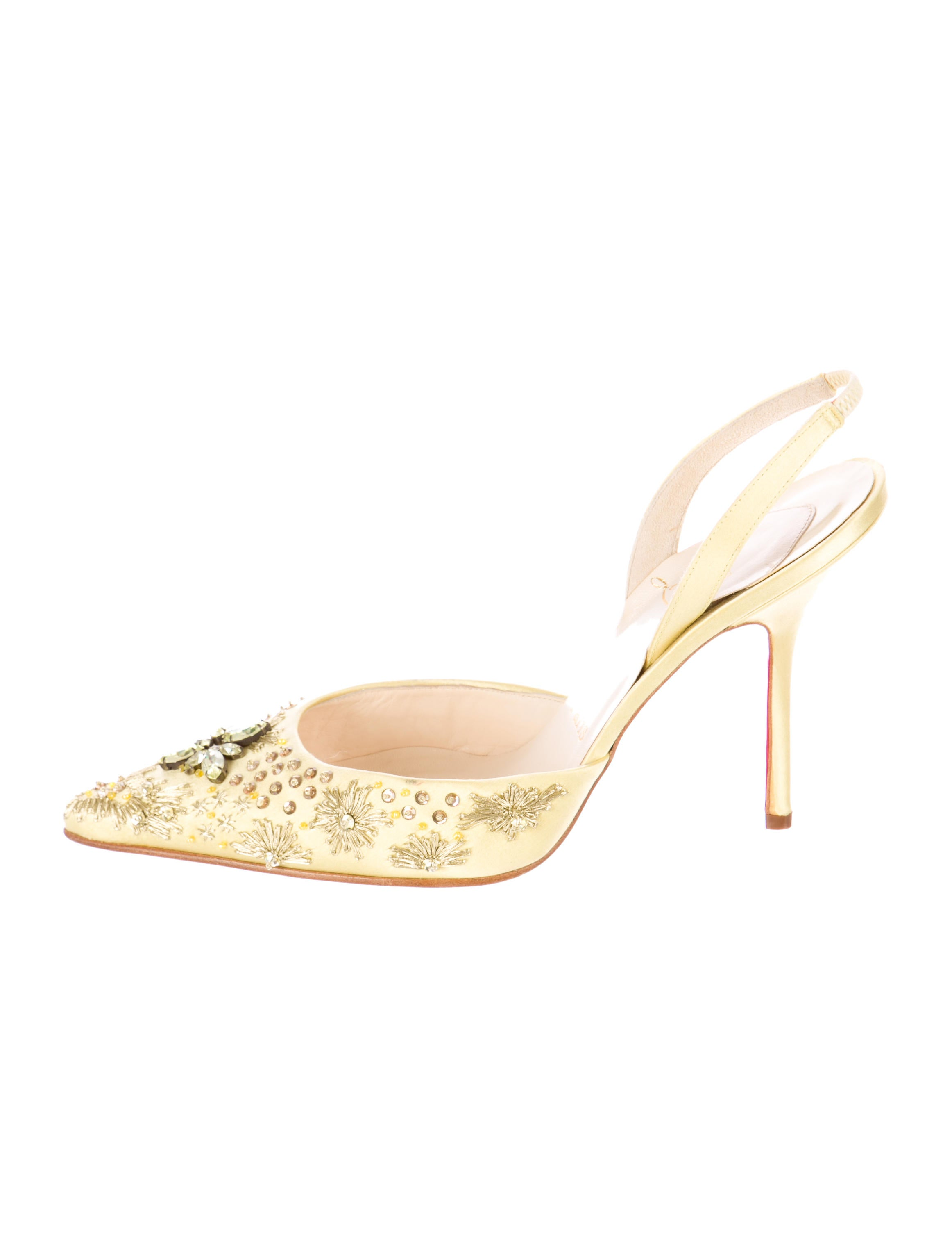 mens red spiked louboutins - christian louboutin slingback pumps Pale yellow satin | The Little ...