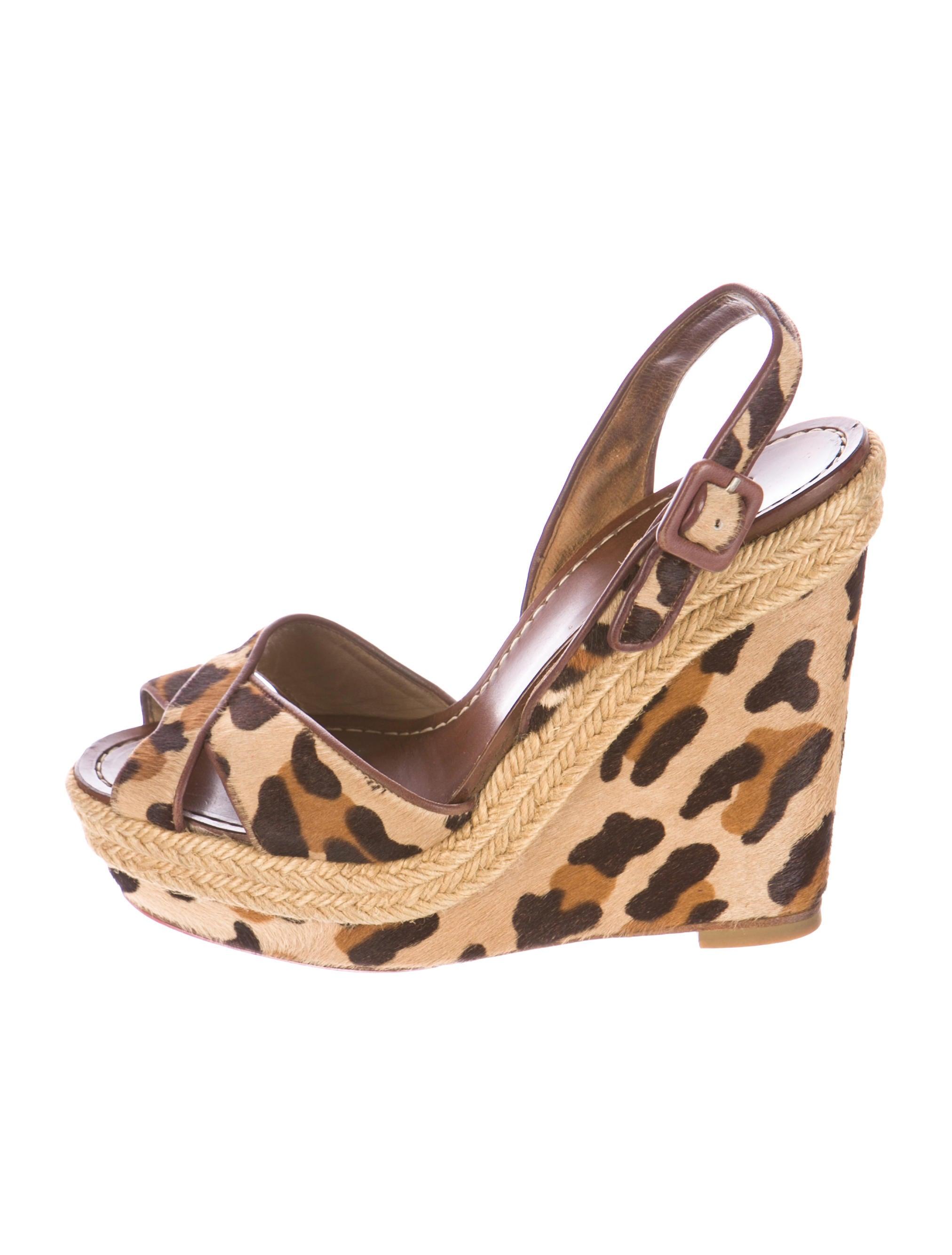 replica mens dress shoes - Artesur ? christian louboutin wedge sandals Tan ponyhair leopard print
