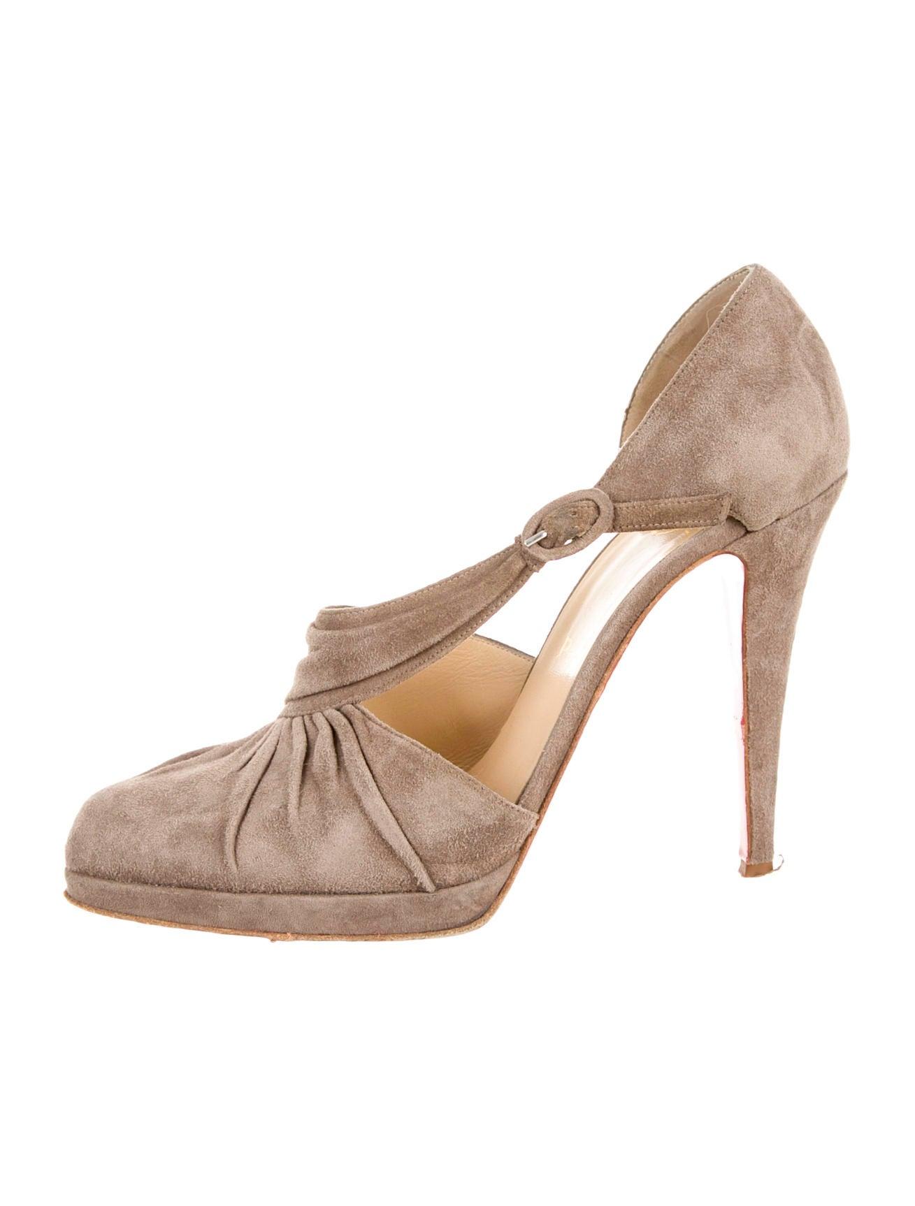 edf3e8f1c717 Artesur » christian louboutin pointed-toe pumps Grey suede buckle ...