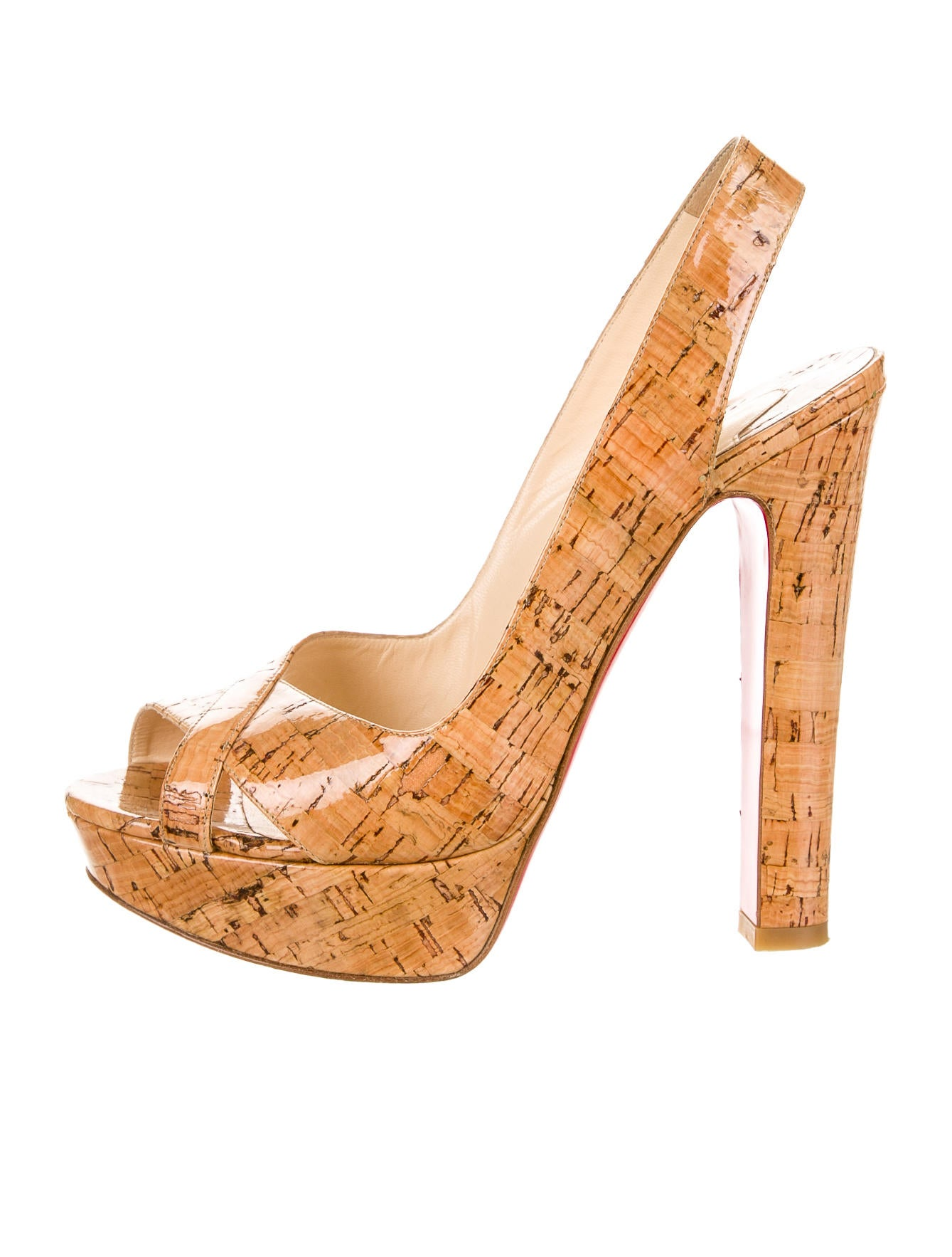 Artesur ? christian louboutin platform sandals Tan coated cork ...