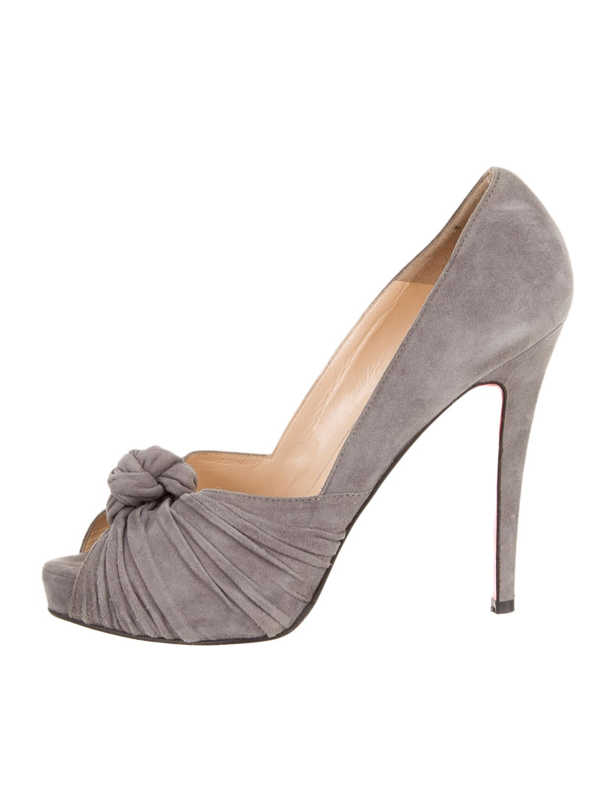 18ef71ffde8 Artesur » christian louboutin peep-toe pumps Grey suede gathers