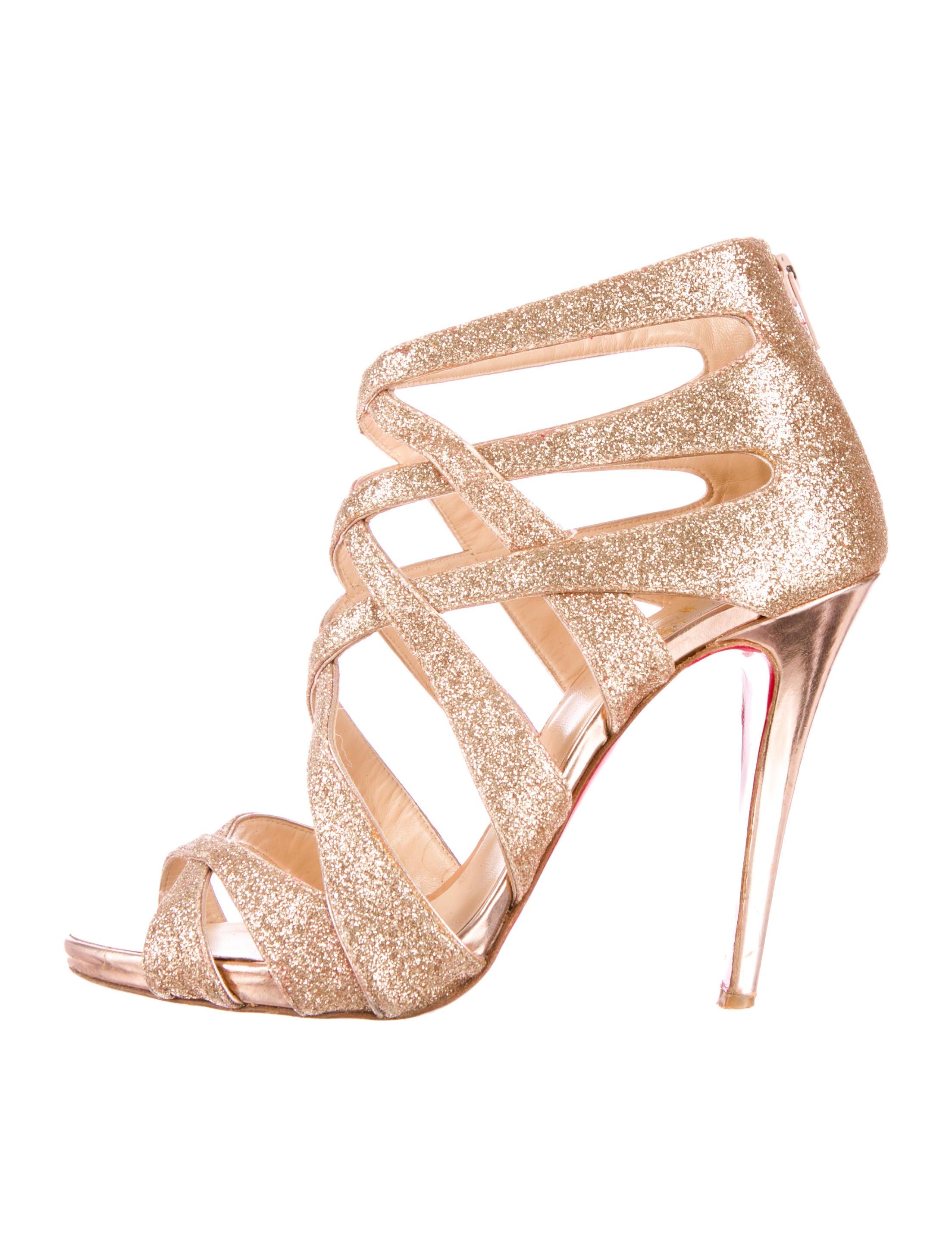 replica of christian louboutin shoes - christian louboutin Balota sandals Gold-tone glitter embellished ...