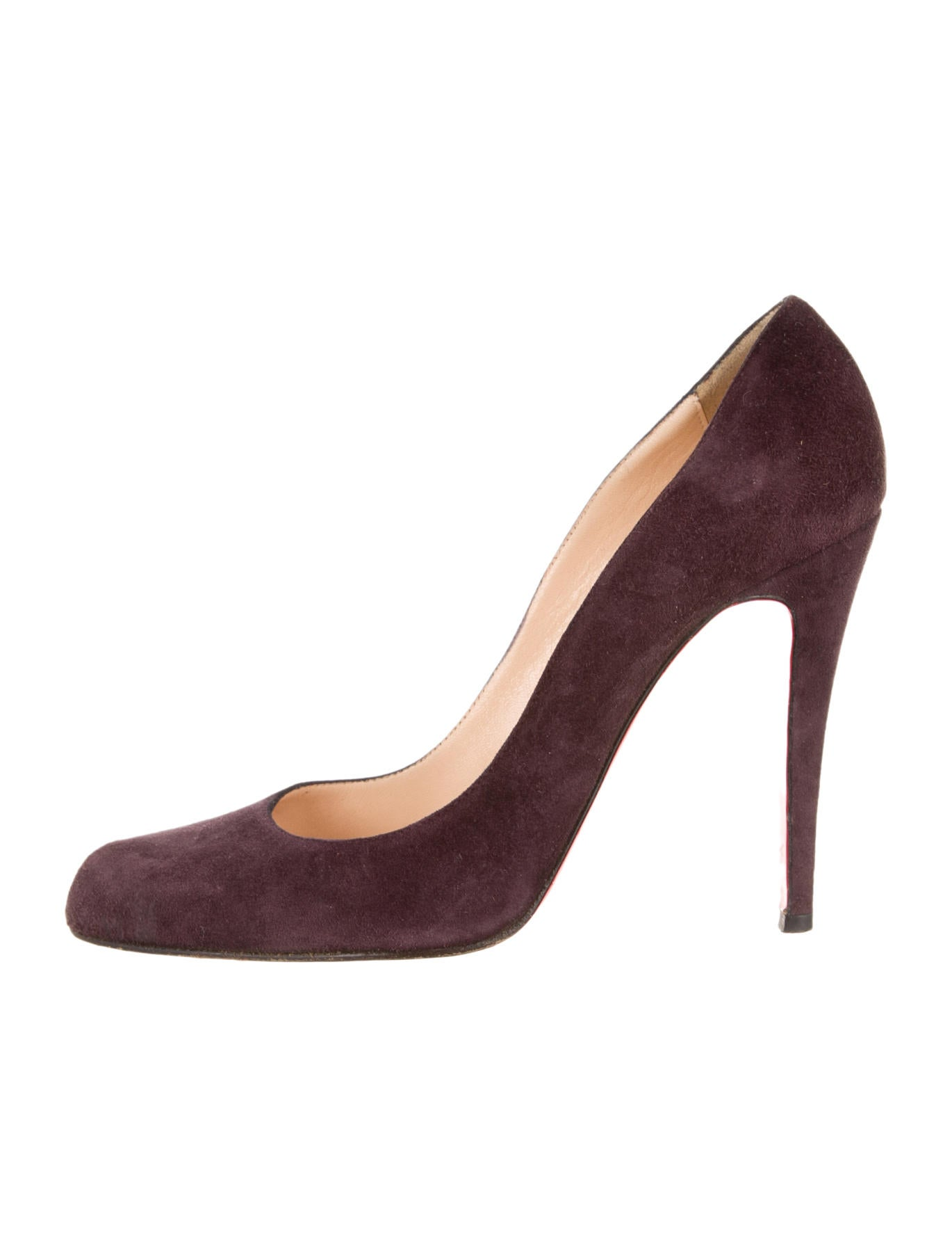 45f6f2bf6985 christian louboutin Simple pointed-toe pumps Eggplant suede covered heels