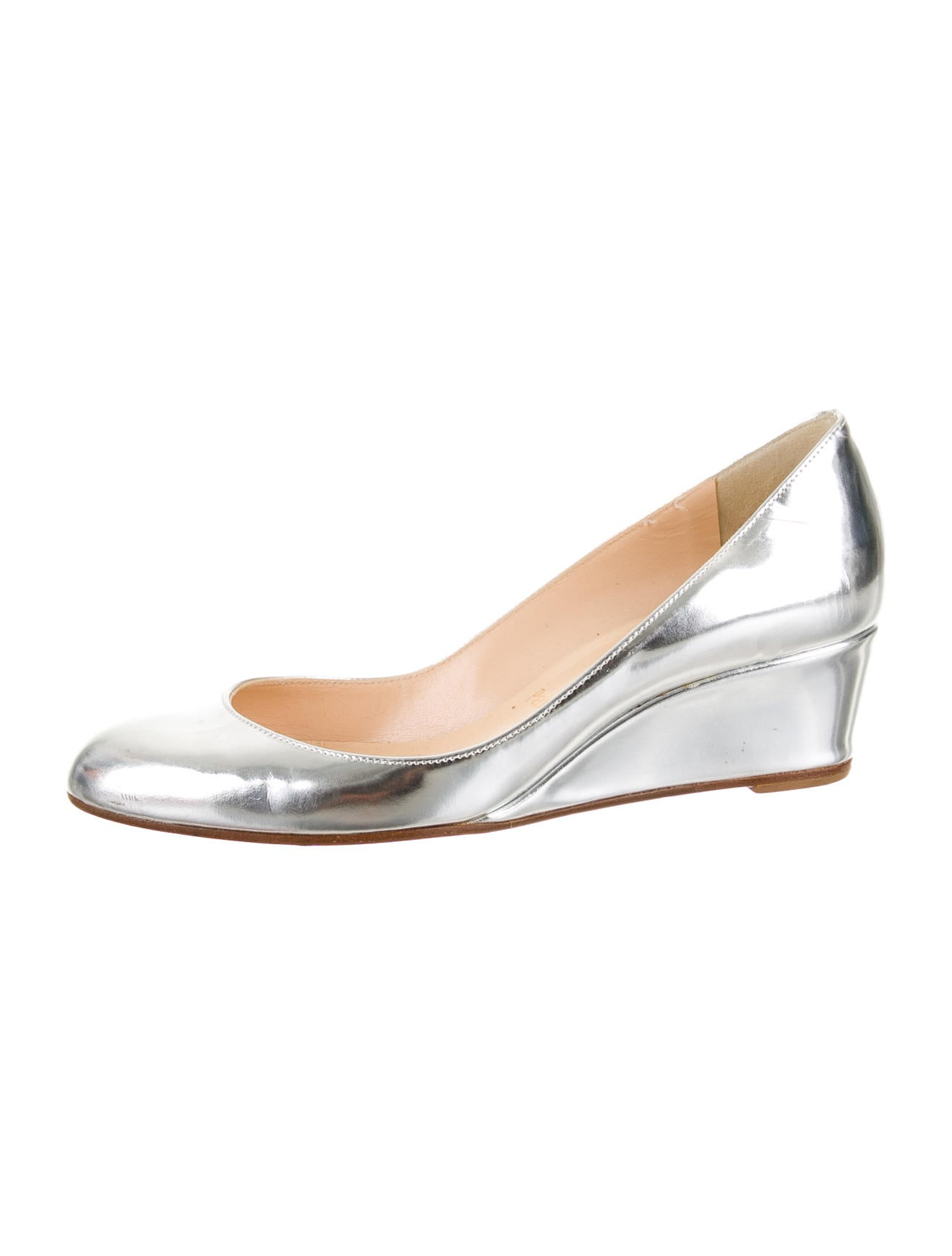 louboutin shoe price - christian louboutin round-toe wedges Metallic leather | The Little ...