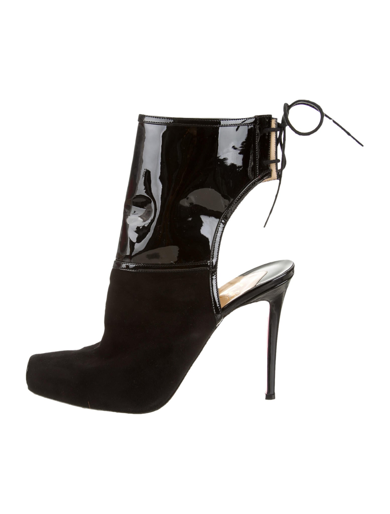 christian louboutin knockoffs cheap - christian louboutin square-toe ankle boots Black suede | The ...