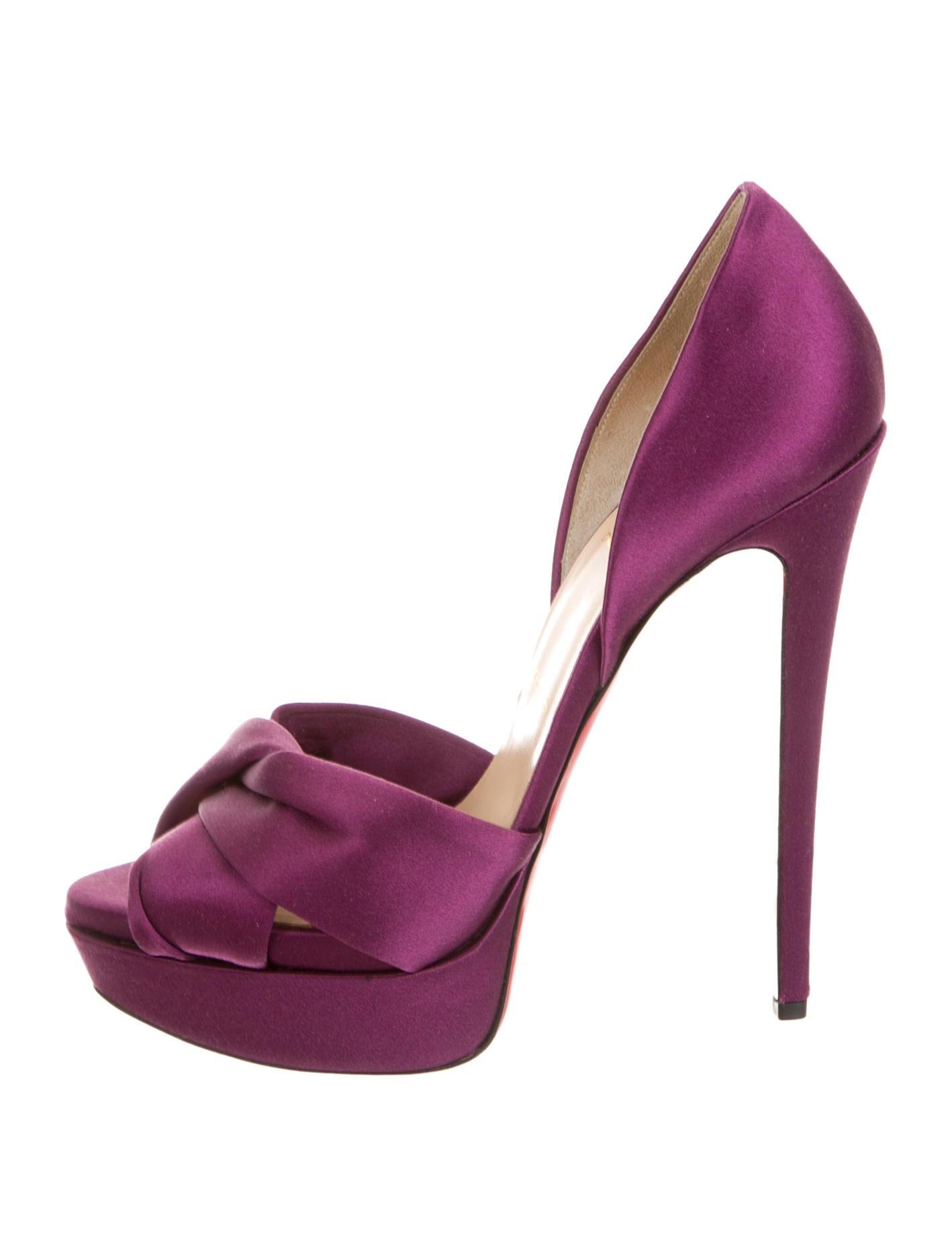 christian louboutin mens trainers - christian louboutin platform pumps Purple satin gathering accent ...