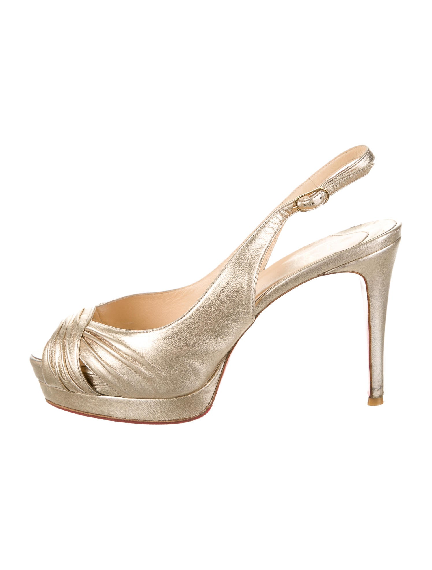 louboutin loafer - christian louboutin peep-toe pumps Metallic gold-tone leather ...