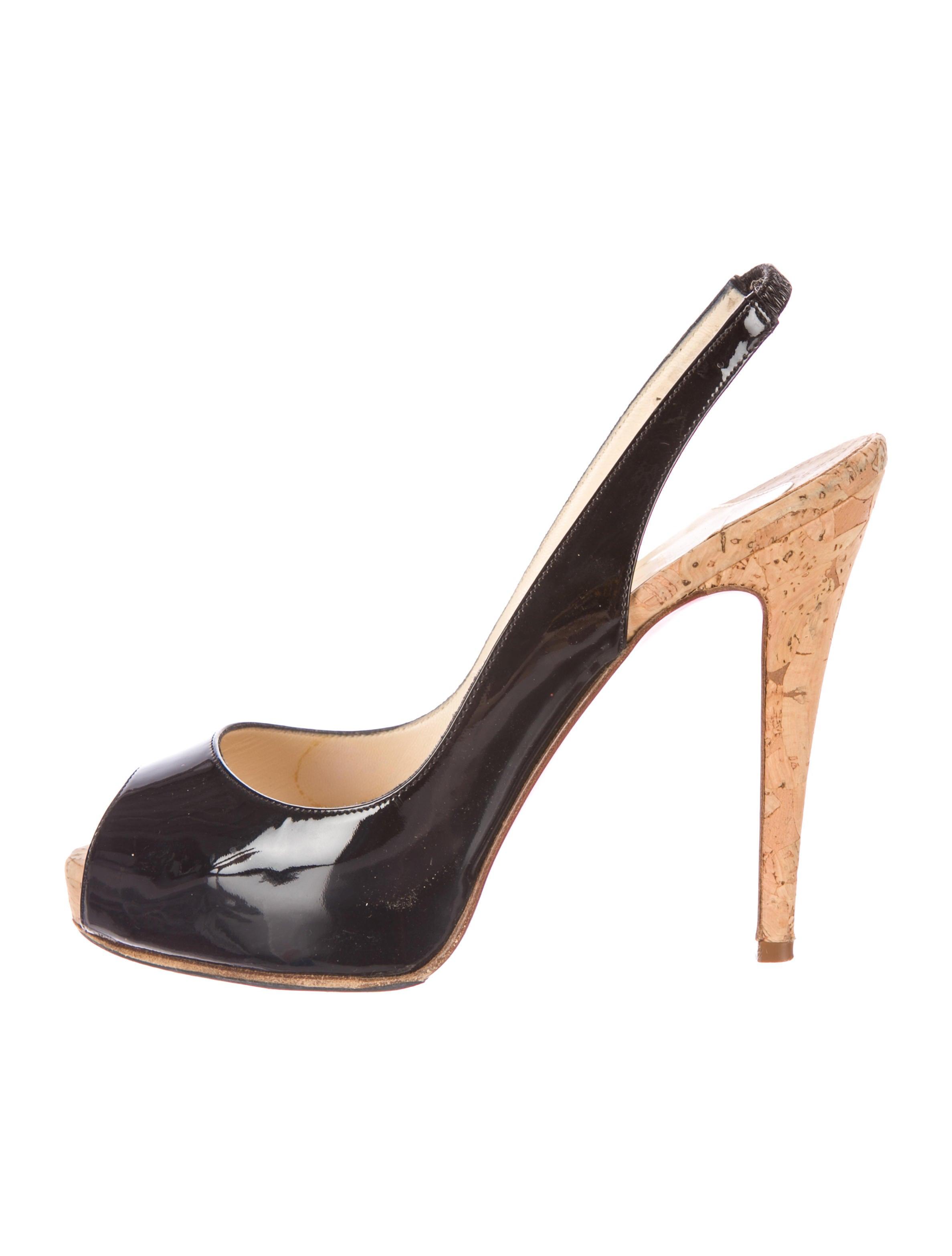 christian louboutin peep-toe platform slingback pumps Black patent ...