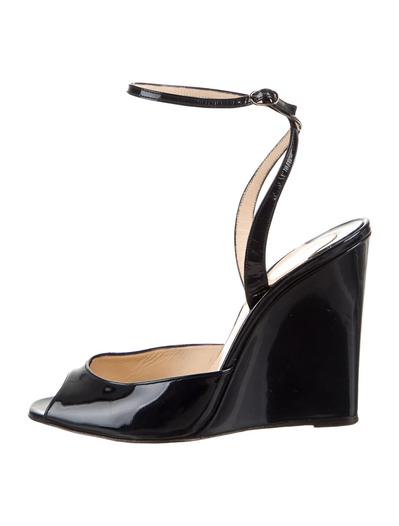 christian louboutin men shoes - christian louboutin peep-toe slingback wedges Navy blue patent ...