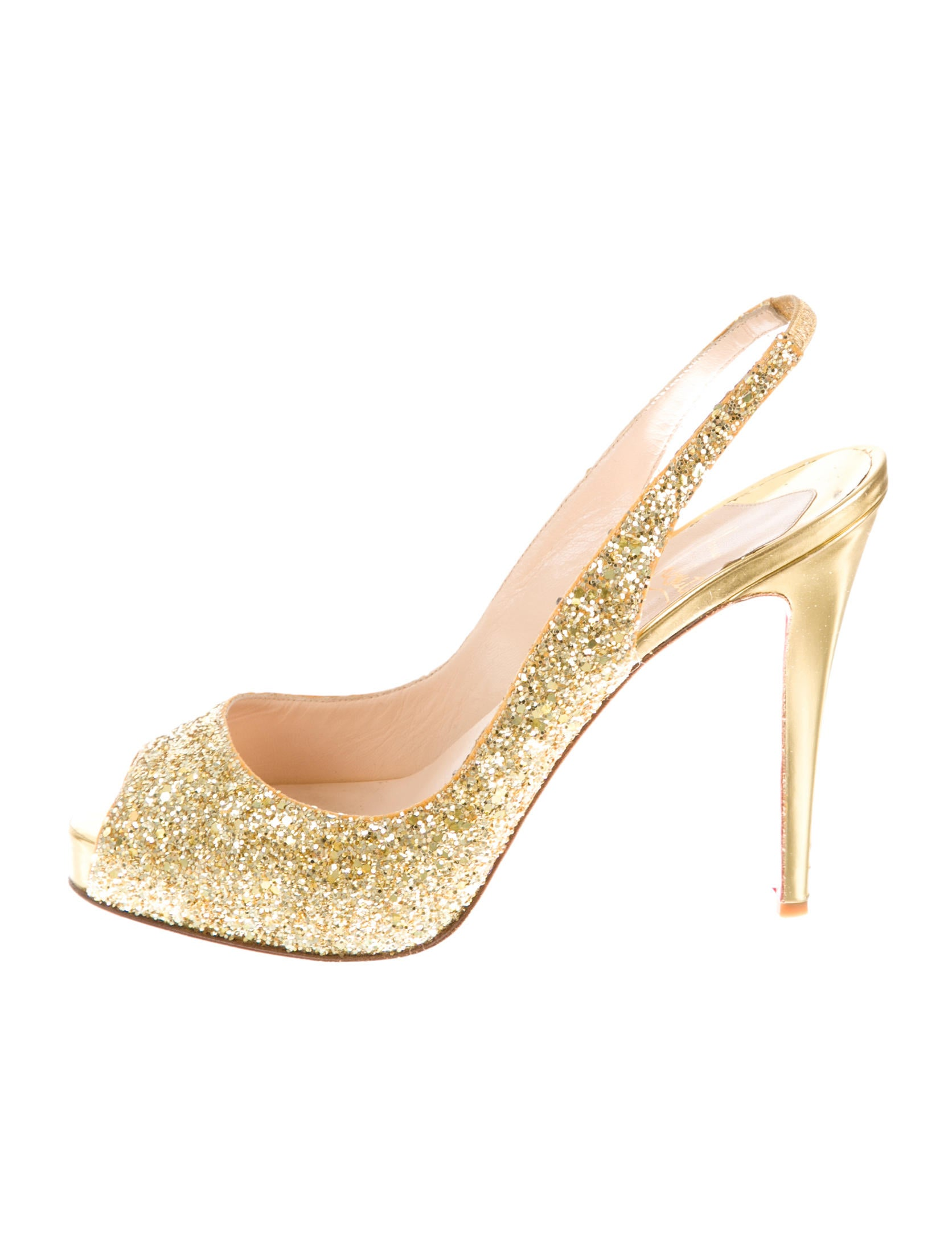 mens spiked shoes - christian louboutin pumps Gold-tone glitter peep toe | The Little ...