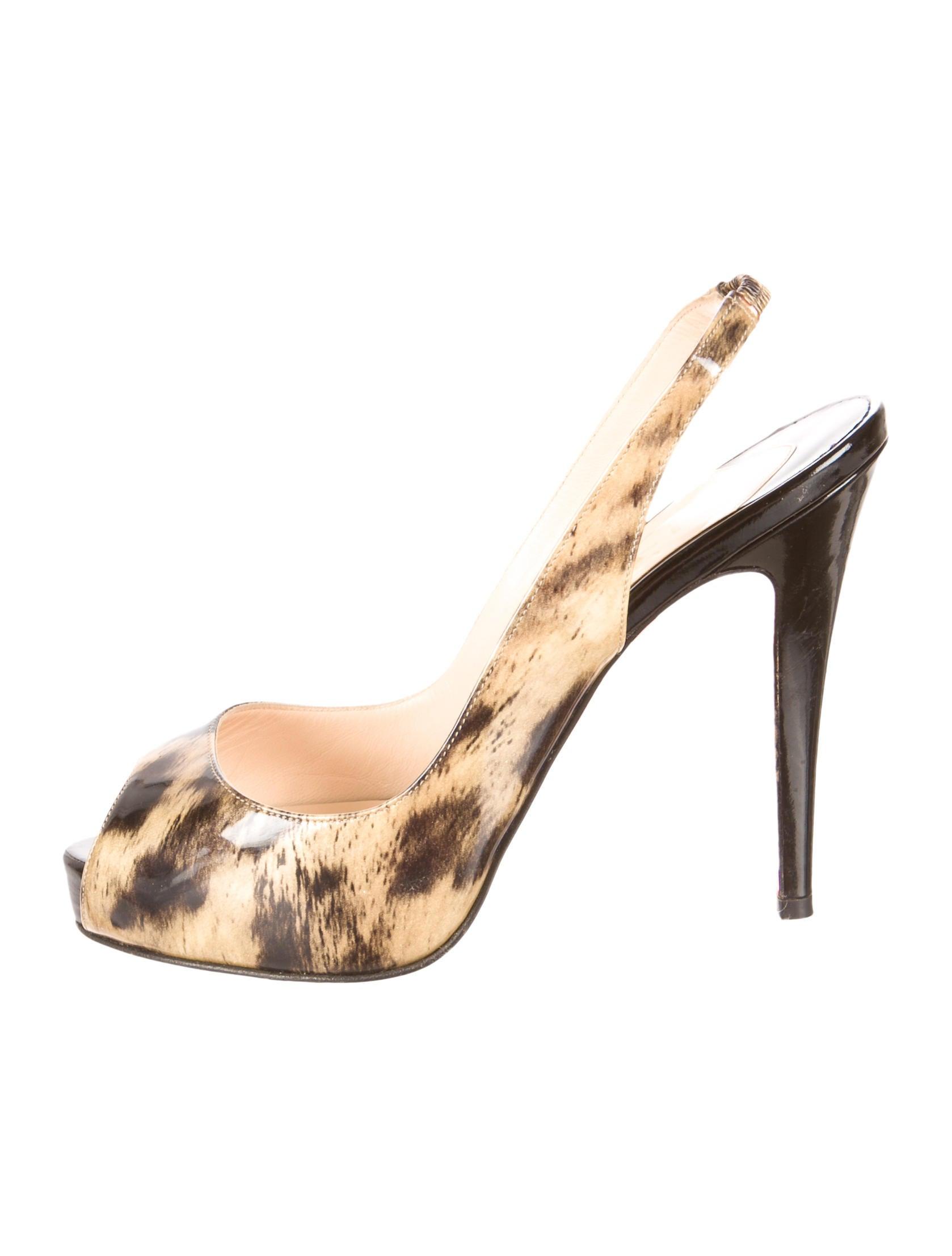 christian louboutin slingback platform sandals Black and beige ...